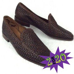 SESTO MEUCCI Leather Loafer 7 N Narrow Woven Brown